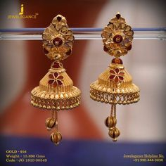 Gold 916 Premium Design Get in touch with us on Gold Jhumka Earrings, Jewelry Design Earrings, Gold Earrings Designs, Gold Jewelry, Body Chain Jewelry, India Jewelry, Gold Bangles, Bangle Bracelets, Jewlery