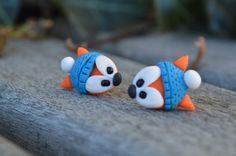 Fimo fox earrings - handmade gift for her, handmade jewellery, fimo earrings, fimo jewellery. Now available at my etsy store:  https://www.etsy.com/ca/listing/499868296/original-handmade-fimo-fox-stud-earrings