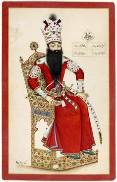 https://flic.kr/p/oGUyj5   Fath 'Ali Shah Seated On A Throne Decorated With Precious Stones   فتحعلی شاه، نگارگر ناشناس محل نگهداري موزه آقاخان www.akdn.org/museum/detail.asp?artifactid=1106 Object name Fath 'Ali Shah Seated On A Throne Decorated With Precious Stones Geography Iran 1998 Materials and technique Watercolour and gold on paper Dimensions 33.2 x 21.1 cm Unknown Artist