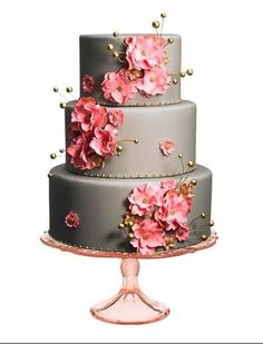 Grey wedding cake with pink and gold flowers / wedding cakes - Juxtapost