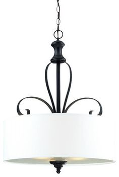 Three Light Matte Black White Linen Shade Drum Shade Pendant - traditional - Pendant Lighting - We Got Lites