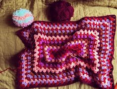 Rectangle granny blanket, instagram. #crochet #crochetblanket #blanket #babyblanket #pompom #makersgonnamake #holiday #goodgraciegoods #crochetgirlgang #knitpicks #techweek