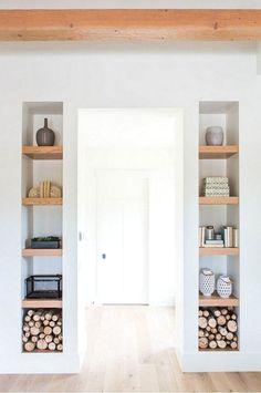 Built In Shelves - BuiltIn Bookshelf Inspiration Home Library Ideas. Bookshelf Inspiration, Bookshelf Ideas, Book Shelves, Shelving Ideas, Casa Retro, Elderly Home, Bookshelves Built In, Shelves Built Into Wall, Bookcases
