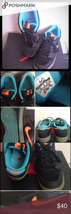 aa4bb426de NIKE DUNK LOW MENS SIZE 10 NIKE DUNK LOW Men's Shoe in Black leather upper  with Florescent Orange Swoosh and Turquoise insole.