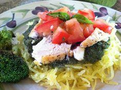 Budget Paleo...Made Easy: Paleo Pesto Chicken on Spaghetti Squash