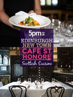 Tucked away on a cobbled lane in the heart of Edinburgh's New Town, Cafe St Honore is a happy marriage between classic French decor and carefully sourced Scottish ingredients. Cafe St Honore may sound as if it is a French restaurant which has decamped to Edinburgh but, despite the elegant Gallic interior, the cooking is mainly although not exclusively modern Scottish. Edinburgh Restaurants, French Restaurants, Restaurant Offers, Happy Marriage, French Decor, A Table, Saints, Menu, Dining
