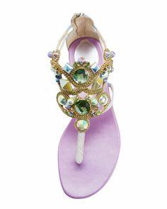 Rene Caovilla Chandelier Sea Stone Ankle-Wrap Flat Thong Sandal - Bergdorf Goodman