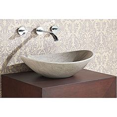 Oval Grey Marble Stone Vessel Sink