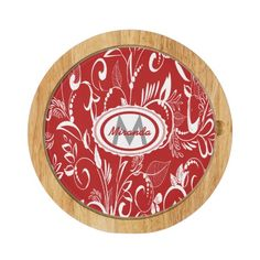 Cute whimsical red and white floral and leaves design cheeseboard with a stylish placeholder for your monogram  initial and name to create a stylish personalized gift. If you require this design in a different color please contact us via our store contact link