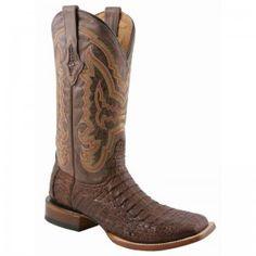 Lucchese Boots Mens Cigar Hornback Caiman Square Toe Boots - WESTERN BOOTS - BOOTS #lucchese #boots @Baskins Western