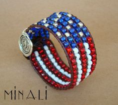 AMERICA - AMERICAN FLAG LEATHER BEADED CUFF BRACELET.Made for my love of this country and for the men and women who serve to protect it. 10% of all proceeds go to The Wounded Warrior Project.