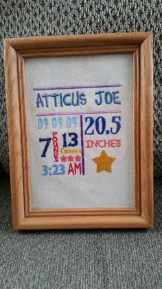 Custom Embroidered Birth Sampler-Subway Art by BoormansCreations
