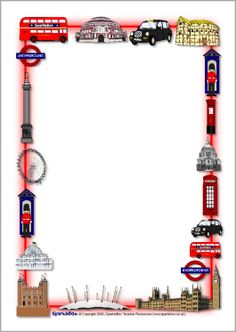 London-themed A4 page borders (SB1360) - SparkleBox
