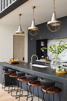 Pendant Lighting Designs and Ideas Diy Pendant Light, Pendant Light Fixtures, Pendant Lighting, Home Decor Kitchen, Kitchen Design, Swivel Counter Stools, House And Home Magazine, Interior Design Tips, Wood Paneling