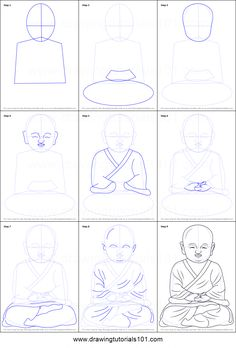 How to Draw a Child Buddha Printable Drawing Sheet by DrawingTutorials101.com