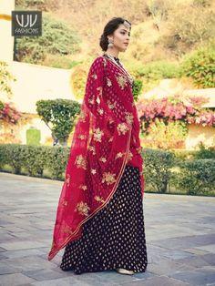 Buy Blue Jacquard Suit, Designer Palazzo Suit - VJV Fashions Designer Anarkali Dresses, Salwar Dress, Anarkali Suits, Salwar Kameez, Bright Blue Suit, Navy Blue, Floor Length Anarkali, Eastern Dresses, Desi Clothes