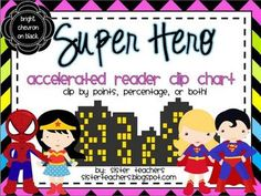 Super Hero Accelerated Reader Clip Chart *bright chevron on black*