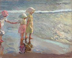 Joaquín Sorolla y Bastida (Spanish, 1863-1923) Las tres hermanas en la playa