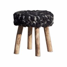 Chunky wool Knit and Wood Occasional Stools  Chunky wool Knit and Wood Occasional Stool - Black | Annie Mo's - 1