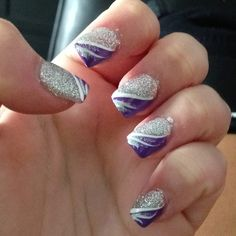 Ok So Whoever Actually Did These Nails A Terrible Job But I Purple And Silver