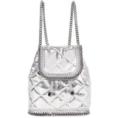 Designer Clothes, Shoes & Bags for Women White Backpack, Backpack Bags, Fashion Backpack, Stella Mccartney Bag, Stella Mccartney Falabella, Silver Backpacks, Silver Bags, Quilted Bag, Chain Shoulder Bag