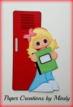 School girl locker premade paper piecing for scrapbook page album border