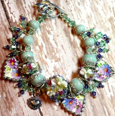 Broken China Bracelet China Heart Charms by Robinsnestcreation1
