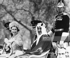London, The Queen Elizabeth Ii With King Faisal Of Saudi Arabia In Hyde Park, In May 1967.