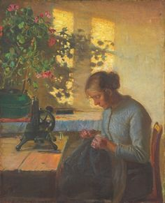 Anna Ancher (1859–1935)   Fisherman's daughter sewing