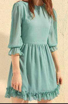 Casual Frocks, Modest Dresses Casual, Stylish Dresses, Simple Dresses, Stylish Outfits, Cute Dresses, Frock Fashion, Korean Fashion Dress, Fashion Dresses