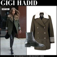 Gigi Hadid in green military style coat, black leather pants and black boots