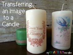 How to transfer an image to a candle. Get the full tutorial at My Craftily Ever After. @craftilyeverash