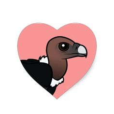 White-rumped Vulture Heart Sticker