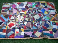 Antique VICTORIAN SILK Crazy QUILT  19th by vintagestyleanddecor