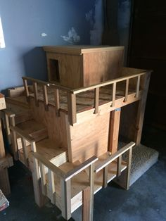 two story dog house built   the left over scrap wood   ideas    Selling this hand made two story dog house  Great condition  Message me