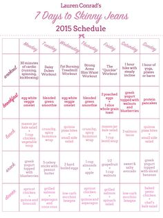 Lauren Conrad's 7 Days to Skinny Jeans 2015 Schedule