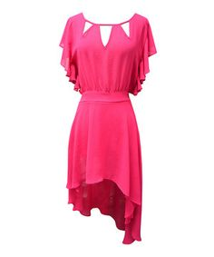 This romantic, vintage-inspired dress features bold color, mod cutouts at the collar, fluttery sleeves and a figure-flattering cinched waist for statement-making style.