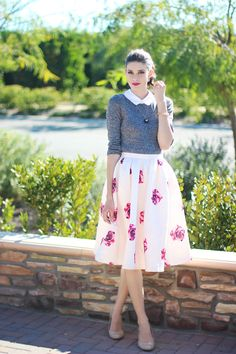 Love the tailored style of the sweater paired with the more romantics free flowing skirt. Skirt is a little long for my height.