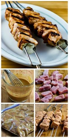 Recipe for Grilled Pork Kabobs with Spicy Peanut Butter, Sesame, and Soy Sauce Marinade; cut up the meat and make the marinade the night before, marinate all day when you're at work, and cook on the grill when you get home!  [from Kalyn's Kitchen] #Grilling #LowCarb #SouthBeachDiet #GlutenFree