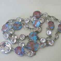 Antique Victorian Edwardian Saphiret Bezel Set Openback Glass Silver Necklace | eBay