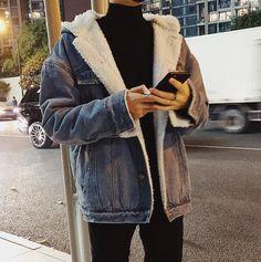 2017 Winter Men's Fashion Korean Style Cowboy Thicken Lamb Cotton-padded Clothes Warm Loose Casual Denim Jackets Coats M-2XL