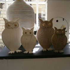 Wooden owls, just in at Edward and Ellen #wetherby - Available in white wash or darker lime wash http://edwardandellen.com/products/2-wooden-white-washed-owls