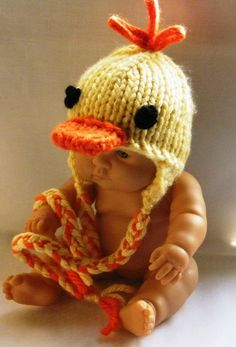 Custom Made Easter Duck Hat with Adorable Braids and Tassels for Newborn and Baby - Photography Prop. $28.00, via Etsy.