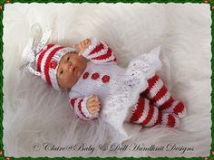 'Candy Cane' Christmas outfit for 9-12 inch dolls-