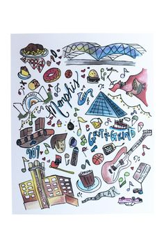 "Memphis print with hand drawn illustrations of 901-themed favorites, including: Levitt Shell, Grit & Grind, BBQ, and more. A great gift or piece to frame.    Dimensions: 8"" x 10""   Illustrated Memphis Print by Signet Sealed. Home & Gifts - Home Decor - Wall Art Memphis, Tennessee"