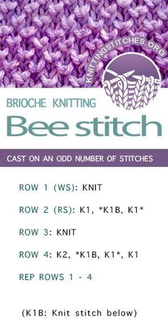 Bee stitch - knit one below stitch | Knitting Stitch Patterns
