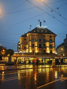 Zurich Central: One of the city's nodal points for road and public transportation. Places Around The World, Around The Worlds, Basel, The Mont, Fairytale Castle, Public Transport, Alps, Rocky Mountains, Switzerland
