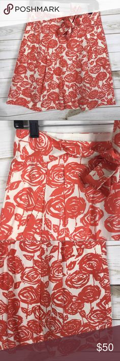 [J. Crew] Orange Rose Print Tie Waist Full Skirt • Lightly Used  • Excellent Condition  • Orange & White Colors • Rose Floral Print • Adjustable Tie Waist • Pleated • Style Name: Brushstroke Rose • Pocket On Each Side  • Waist: 14.5ins • Length: 19.5ins • 100% Cotton J. Crew Skirts A-Line or Full