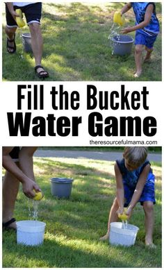 Cool of this summer with this super fun water game. Teams race to fill their buc… Cool of this summer with this super fun water game. Teams race to fill their bucket. Fun Water Games, Outdoor Water Games, Outdoor Party Games, Outdoor Games For Kids, Kids Party Games, Summer Activities For Kids, Summer Kids, Fun Activities, Water Balloon Games