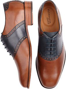 Florsheim Cognac and Navy Oxford Saddle Shoes - Mens Warehouse
